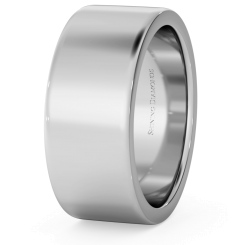 HWNA817 Flat Wedding Ring - 8mm width, Medium depth - white