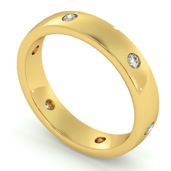 HWR001 Flush Round cut Diamond set Wedding Band - yellow
