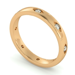 HWR003 Rub-Over Designer Round cut Diamond set Wedding Band - rose