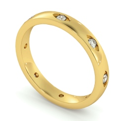 HWR003 Rub-Over Designer Round cut Diamond set Wedding Band - yellow