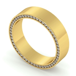 HWR004 Channel set Edge Round cut Diamond set Wedding Ring - yellow