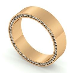 HWR004 Channel set Edge Round cut Diamond set Wedding Ring - rose
