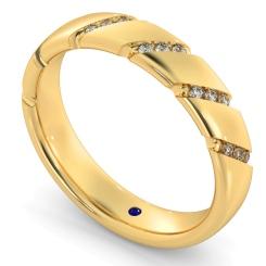HWR016 Diagonal set Round cut Diamond Wedding Band - yellow