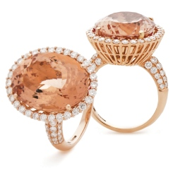 HROGMG1133 Designer Pave Style Morganite & Diamond Single Halo Ring - rose