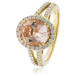 HRRGMG1140 Round Shape Split Shank Morganite & Diamond Single Halo Ring - yellow
