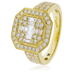 HRBCL922 Round & Baguette cut Vintage with Milgrain Cluster Diamond Ring - yellow