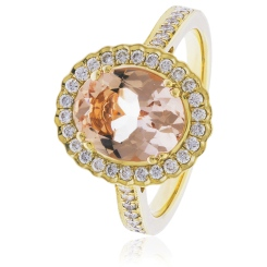 HRRGMG1139 Round Shape Morganite & Diamond Single Halo Ring - yellow