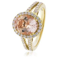HRRGMG1140 Round Shape Split Shank Morganite & Diamond Single Halo Ring - yellow