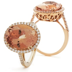 HROGMG1131 Morganite & Diamond Single Halo Ring - rose