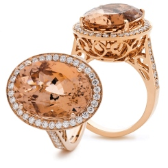 HROGMG1132 Designer Morganite & Diamond Single Halo Ring - rose