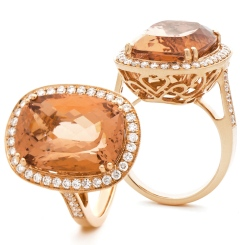 HROGMG1136 Designer Oval Shape Morganite & Diamond Single Halo Ring - rose