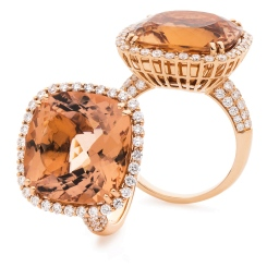 HRXGMG1137 Designer Pave Morganite & Diamond Single Halo Ring - rose