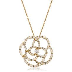 HPRDR128 Round cut Spiral Flower Diamond Pendant - rose