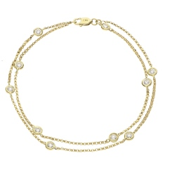 HBRDR040 Duo Chain Delicate Diamond Charm Bracelet - yellow
