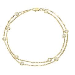 HBRDR040 Duo Chain Delicate Diamond Charm Bracelet - yellow