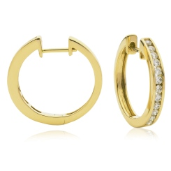 HER155 Round cut Diamond Hoop Earrings - yellow
