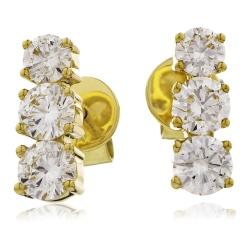 HER234 Trilogy Round Diamond Journey Earrings - yellow