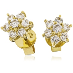 HERCL103 Round cut Diamond Floral Cluster Earrings - yellow