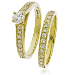 HRRBS891 High set Round cut Diamond Bridal Set Rings - yellow