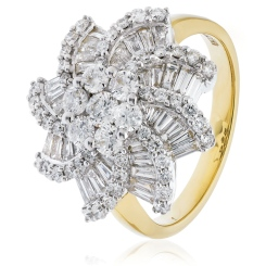 HRRCL933 Round & Baguette Spiral Cluster Diamond Ring - yellow