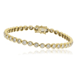 HBRDR044 Bezel Round Cut Diamond Line Bracelet - yellow