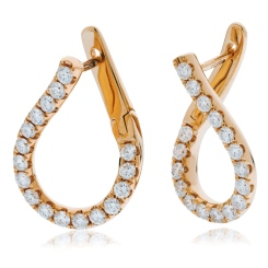 HER152 Brilliant cut Drop Diamond Earrings - rose