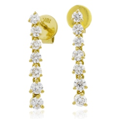 HER236 Linear Diamond Journey Earrings - yellow