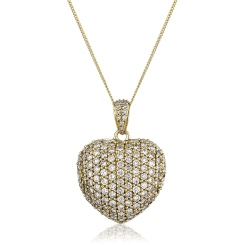 HPRDR201 Dazzling Round cut Micro Pave Heart Diamond Pendant - yellow