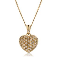 HPRDR206 Round cut Grain set Diamonds Heart Pendant - rose