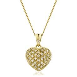 HPRDR206 Round cut Grain set Diamonds Heart Pendant - yellow