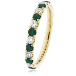 HRRGEM992 Emerald & Diamond Half Eternity Ring - yellow