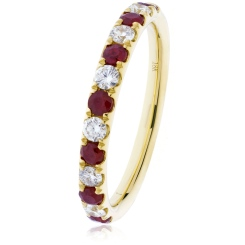 HRRGRY993 Ruby & Diamond Half Eternity Ring - yellow