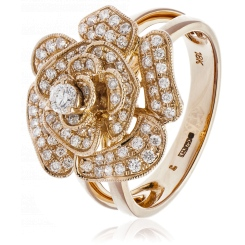 HRRCL944 Floral Round cut Cluster Cocktail Diamond Ring - rose