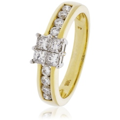 HRPCL894 Four Princess cut Cluster with Side Stones Diamond Ring - yellow