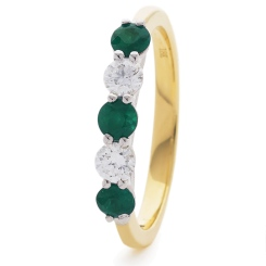 HRRGEM986 Emerald 5 Stone Diamond Ring - yellow