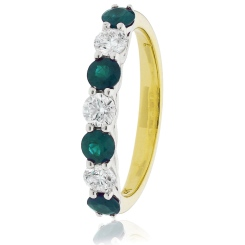 HRRGEM989 Emerald 7 Stone Diamond Ring - yellow