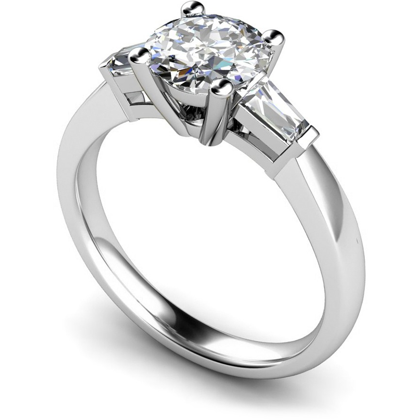 Elegant Round U0026 Baguettes 3 Stone Diamond Engagement Ring Under £500
