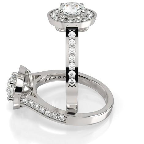 Round cut Halo Diamond Ring  - HRRSD250 - 360 animation