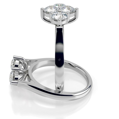 Round 4 Stone Diamond Ring - HRRTR196 - 360 animation