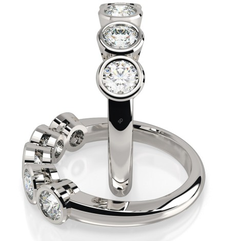 Round 5 Stone Diamond Ring - HRRTR202 - 360 animation