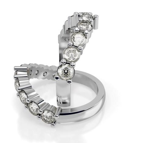 Round 9 Stone Diamond Ring - HRRTR229 - 360 animation
