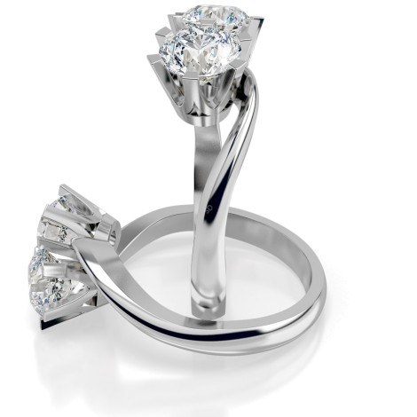 Twin Round Diamond Ring - HRRTW86 - 360 animation