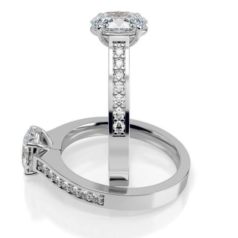 Oval Shoulder Diamond Ring - HRXSD449 - 360 animation
