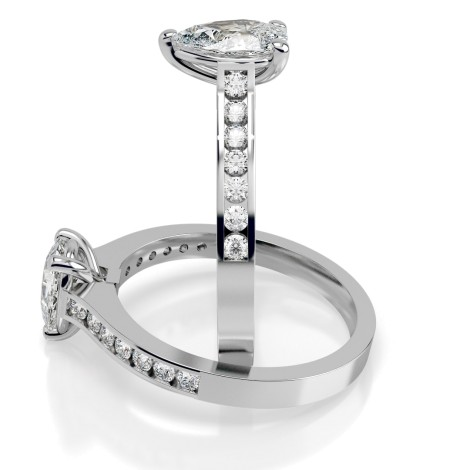 Pear Shoulder Diamond Ring - HRXSD452 - 360 animation