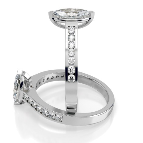 Marquise Shoulder Diamond Ring - HRXSD472 - 360 animation