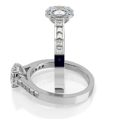 Oval Shoulder Diamond Ring - HRXSD538 - 360 animation