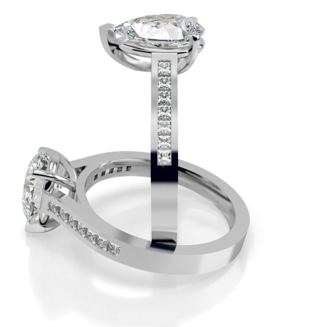 Pear Shoulder Diamond Ring - HRXSD607 - 360 animation