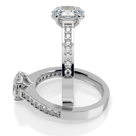 Oval Shoulder Diamond Ring - HRXSD610 - 360 animation
