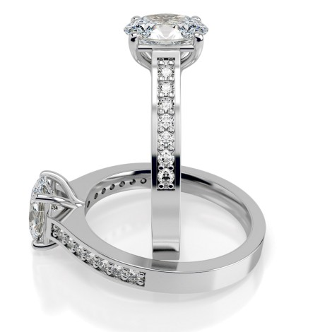 Oval Shoulder Diamond Ring - HRXSD612 - 360 animation