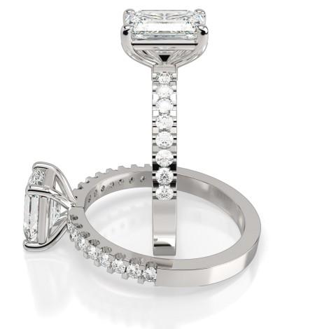 Emerald Shoulder Diamond Ring - HRXSD646 - 360 animation